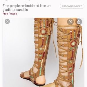 Free people Leather embroidered gladiator sandals